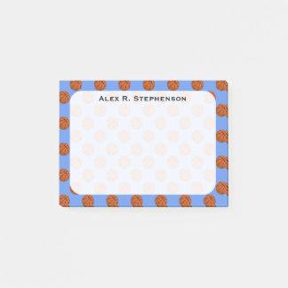 Bloco De Notas Bolas do basquetebol do monograma no azul do