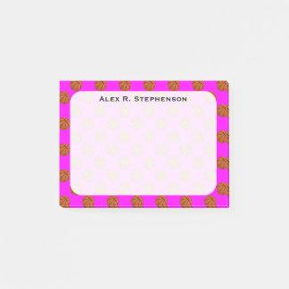 Bloco De Notas Bolas do basquetebol do monograma no rosa