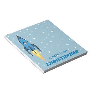 Bloco De Notas Bonito de Rocketship retro azul e de estrelas