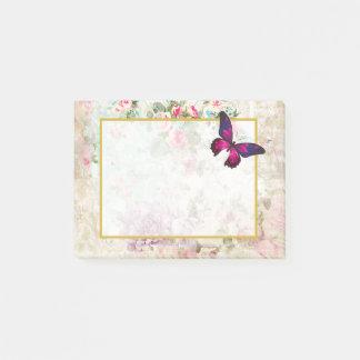 Bloco De Notas Borboleta cor-de-rosa e rosas gastos do vintage