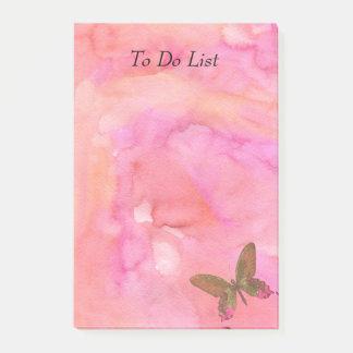 Bloco De Notas Borboleta na aguarela cor-de-rosa