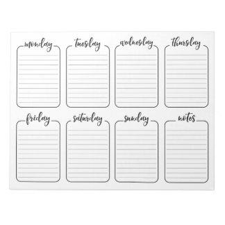 Bloco De Notas Brancos simples do planejador semanal rasgam