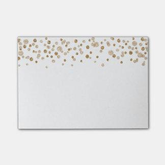 Bloco De Notas Brilho Glam dos confetes do ouro