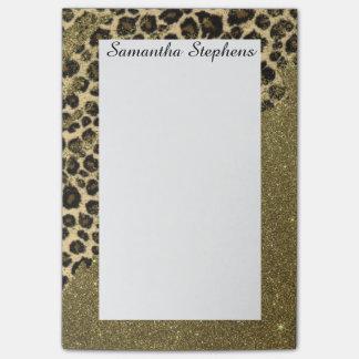 Bloco De Notas Brushstrokes clássicos do impressão do leopardo no