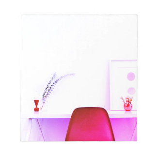 Bloco De Notas Cadeira do professor do rosa quente da mesa de