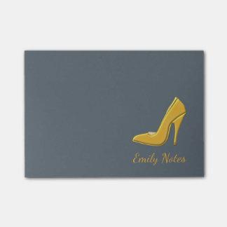 Bloco De Notas Calçados personalizados do salto alto do ouro