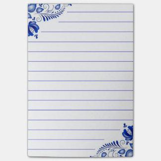 Bloco De Notas Cantos florais azuis