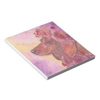 Bloco De Notas Cão do Dachshund & rosas, cão de salsicha, weiner