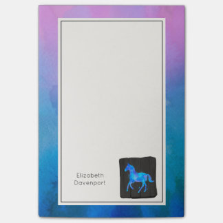 Bloco De Notas Cavalo legal nas aguarelas azuis personalizadas