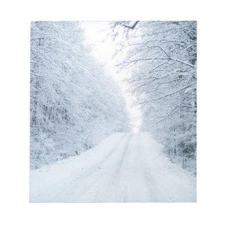 Bloco De Notas Cena da estrada secundária do inverno