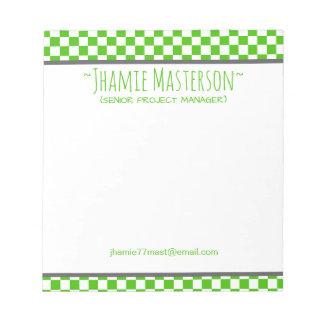Bloco De Notas Checkered verde