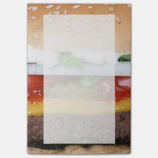 Bloco De Notas cheeseburger delicioso com fotografia das