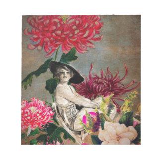 Bloco De Notas Colagem da flor da mulher do vintage