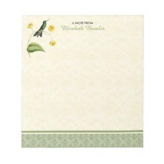 Bloco De Notas Colibri brilhante coroado verde