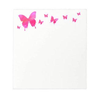 Bloco de notas cor-de-rosa da borboleta