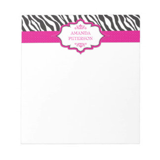 Bloco de notas cor-de-rosa da fita da zebra