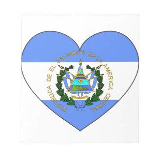 Bloco De Notas Coração da bandeira de El Salvador
