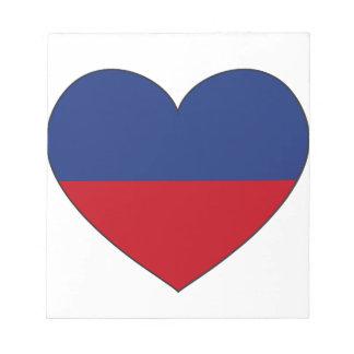 Bloco De Notas Coração da bandeira de Haiti