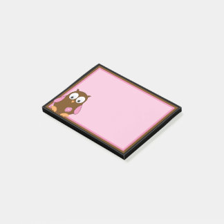 Bloco De Notas Coruja bonito de Brown com asas cor-de-rosa