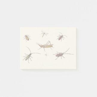 Bloco De Notas Design do vintage com os sete insetos diferentes
