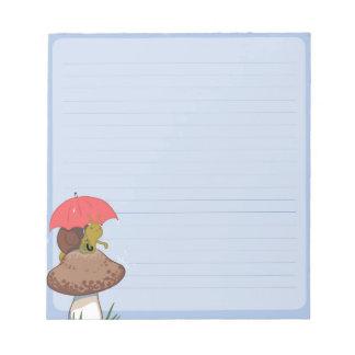 Bloco de notas do caracol do dia chuvoso