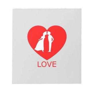 Bloco de notas do coração do amor