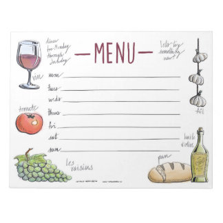 Bloco De Notas Do menu semanal do comensal do gourmet bloco de