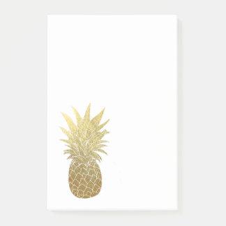 Bloco de notas do post-it do abacaxi do ouro sticky notes