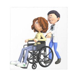Bloco De Notas Doutor Wheeling Paciente Cadeira de rodas dos