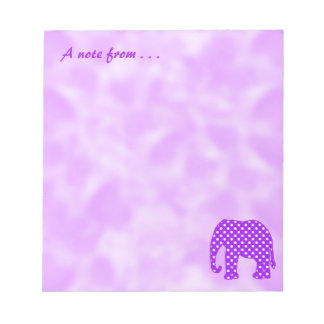 Bloco De Notas Elefante roxo e branco das bolinhas