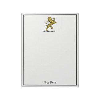 Bloco De Notas Emblema ereto C da crista do leão heráldico