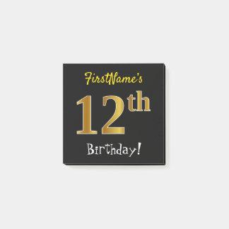 Bloco De Notas Enegreça, aniversário do ouro do falso 12o, com