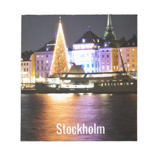 Bloco De Notas Éstocolmo, suecia no Natal na noite