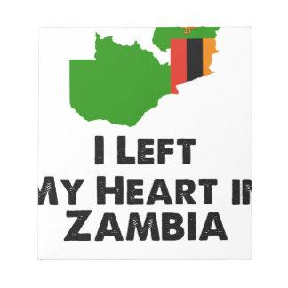 Bloco De Notas Eu deixei meu coração na Zâmbia