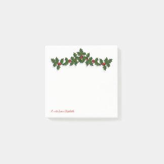 Bloco De Notas Feliz Natal, ramos da baga do azevinho -
