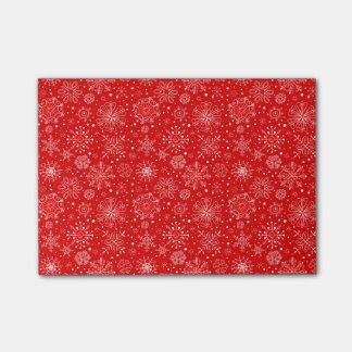 Bloco De Notas Flocos de neve brancos no vermelho do Natal