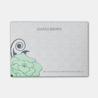 Bloco De Notas Flor branca do verde do damasco