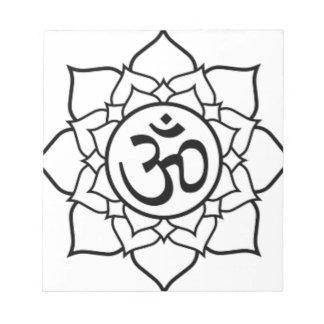 Bloco De Notas Flor de Lotus, preta com fundo branco