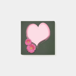 Bloco De Notas Flores cor-de-rosa do coração - notas do Cargo-it®