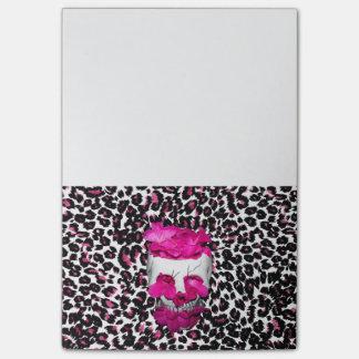 Bloco De Notas Flores do crânio w/Pink no impressão cor-de-rosa