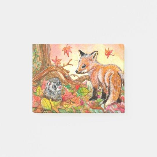 Bloco De Notas Fox e doninha nas folhas de outono