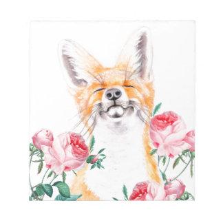Bloco De Notas Foxy feliz e rosas
