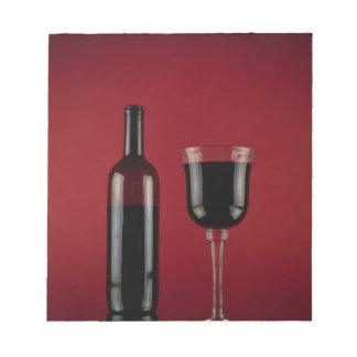 Bloco De Notas Garrafa de vidro de vermelho de vinho