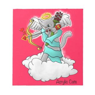 Bloco De Notas Gato cinzento do Cupido de Smokey do dia dos