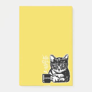 Bloco De Notas Gato engraçado motivado pelo café
