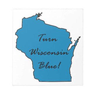 Bloco De Notas Gire Wisconsin azul! Orgulho Democrática!