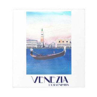 Bloco De Notas Gôndola de Veneza Italia no canal grande com San
