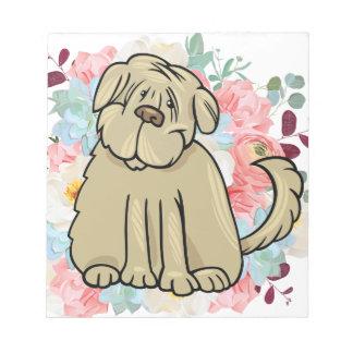 Bloco De Notas Grande cão macio com flores