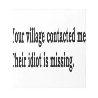 Bloco De Notas Idiota da vila