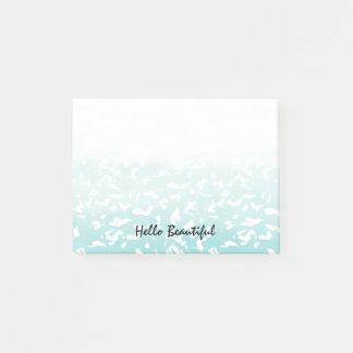 Bloco De Notas Impressão animal branco de Ombre do Aqua bonito